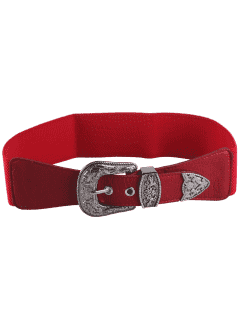 Retro Engraved Pin Buckle Elastic Waist Belt - Red