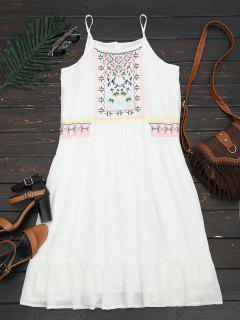 Vestido Bordado Con Volantes - Blanco L