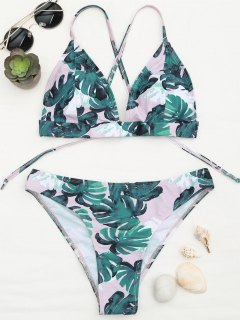 Banana Leaf Print Strappy Bikini Set - Blue And Pink M