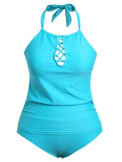 Halter Tankini Plus Size Bathing Suit - Lake Blue Xl