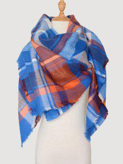 Color Blocking Checked Wool Blended Square Scarf - Royal