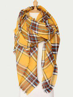 Plaid Wool Blend Warm Scarf - Yellow