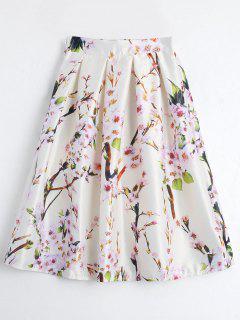 Floral Printed A Line Skirt - Beige