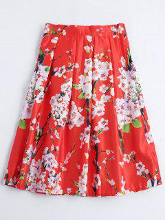 Floral Printed A Line Skirt - Red