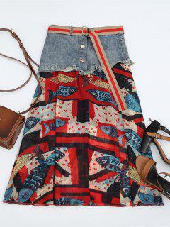 Fish Print Belted Denim Panel Skirt - Multi Xl