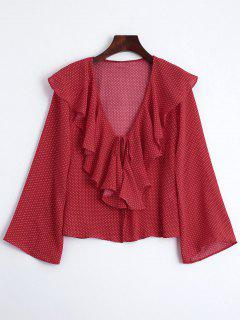 Front Tie Polka Dot Ruffles Blouse - Red S