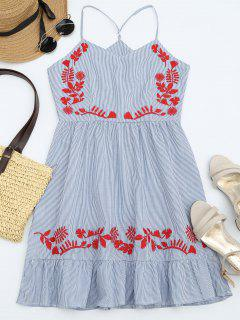 Stripes Ruffles Embroidered Mini Dress - Stripe