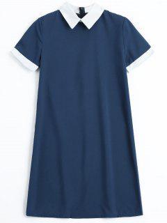 Robe Mi-longue à Dos Avec Fermeture à Glissière - Bleu Violet L