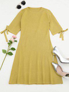 Knitting Split Sleeve Bowknot Mini Dress - Yellow