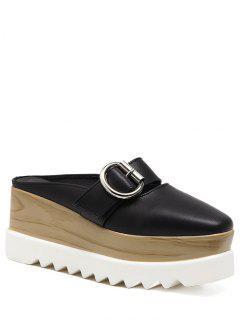 Buckle Strap Square Toe Platform Slippers - Black 37