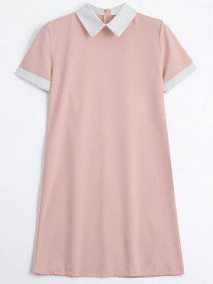 Back Zipper Two Tone Mini Dress - Pink M