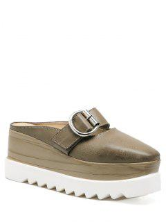 Buckle Strap Square Toe Platform Slippers - Khaki 38