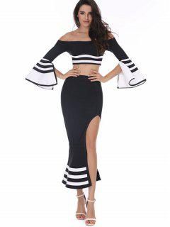 Striped Flare Sleeve Top And Skirt Set - Black S