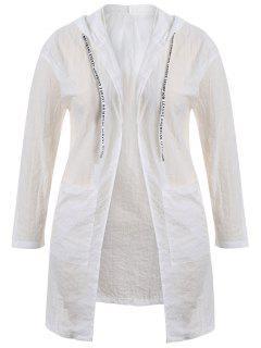 Plus Size Hooded Drawstring Longline Coat - White 3xl