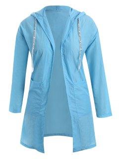 Plus Size Hooded Drawstring Longline Coat - Windsor Blue Xl
