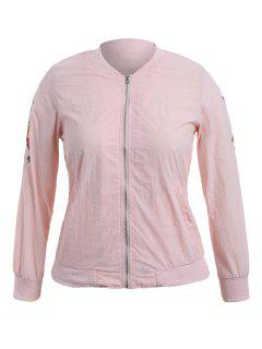 Zippered Floral Embroidered Plus Size Jacket - Pink 4xl
