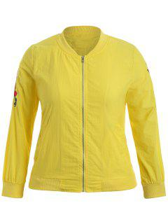 Zippered Floral Embroidered Plus Size Jacket - Yellow 4xl