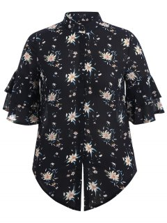 Flare Sleeve Floral Plus Size Blouse - Purplish Blue 2xl