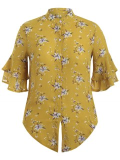 Flare Sleeve Floral Plus Size Blouse - Yellow Xl