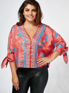 Tied Sleeve Fruit Print Plus Size Blouse - Jacinth 2xl
