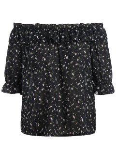 Plus Size Tiny Floral Off Shoulder Blouse - Black Xl