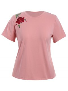 Plus Size Floral Embroidered T-Shirt - Pink 4xl