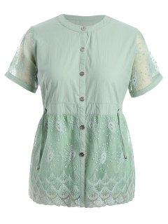 Plus Size Lace Panel Button Up Blouse - Pale Green 4xl