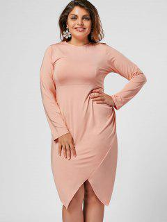 Plus Size Asymmetrical Bodycon Dress - Pink 4xl