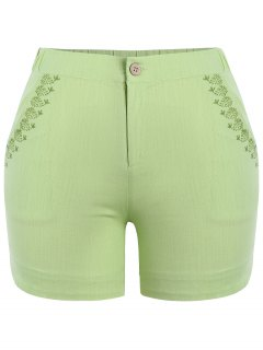 Plus Size High Waisted Embroidered Shorts - Celadon Xl