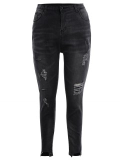 Skinny Plus Size Destroyed Pencil Jeans - Black Grey Xl