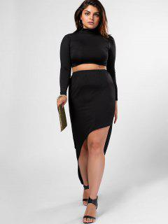 Plus Size High Neck Top And High Low Bodycon Skirt Suit - Black 3xl