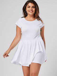 Ruffles Plus Size Asymmetrical Romper - White 3xl