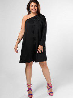 One Shoulder Plus Size Swing Dress - Black 4xl