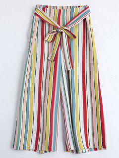 Self Tie Striped Capri Gaucho Pants - Stripe M