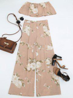 Smocked Tube Top And Slit Floral Wide Leg Pants - Floral L