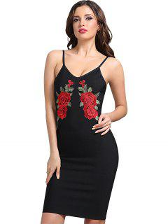 Floral Patched Cami Fitted Dress - Black L