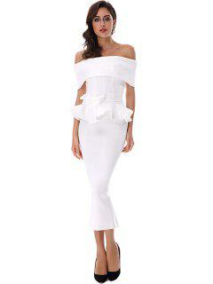 Ruffles Belted Top And Slit Skirt Set - White M