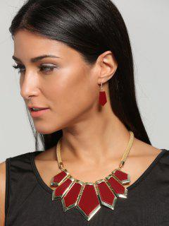 Plated Geometrical Statement Necklace And Drop Earrings - Red