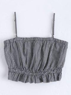 Cami Ruffles Cropped Tank Top - Checked S