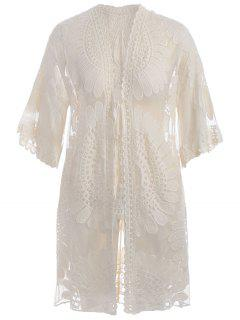 Plus Size Kimono Self Tie Cover Up Dress - Off-white 2xl