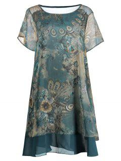 Chiffon Peacock Print Plus Size Layered Dress - Blue Green Xl