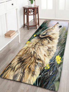 Wolf Howl Pattern Bathroom Skidproof Rug - W24 Inch * L71 Inch