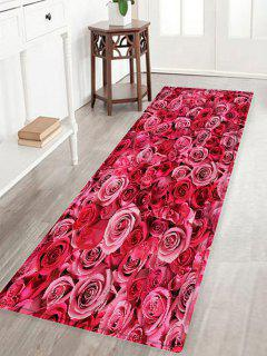 Rose Flowers Pattern Water Absorption Area Rug - Deep Pink W16 Inch * L47 Inch