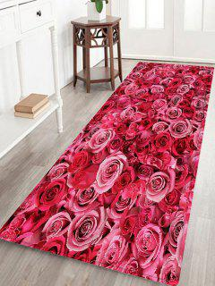 Rose Flowers Pattern Water Absorption Area Rug - Deep Pink W24 Inch * L71 Inch