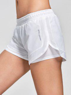 Mesh Double Layered Running Shorts - White L