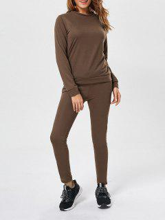 Long Sleeve Pullover Sweatshirt+Drawstring Pants - Coffee M