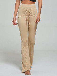 Lace Up Corset Pants - Khaki M