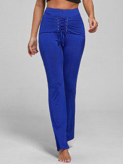 Lace Up Corset Pants - Blue L