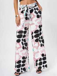Printed Belted Wide Leg Pants - White S