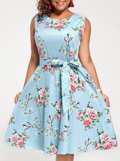 Sleeveless Floral A Line Plus Size Midi Dress - Cloudy 3xl
